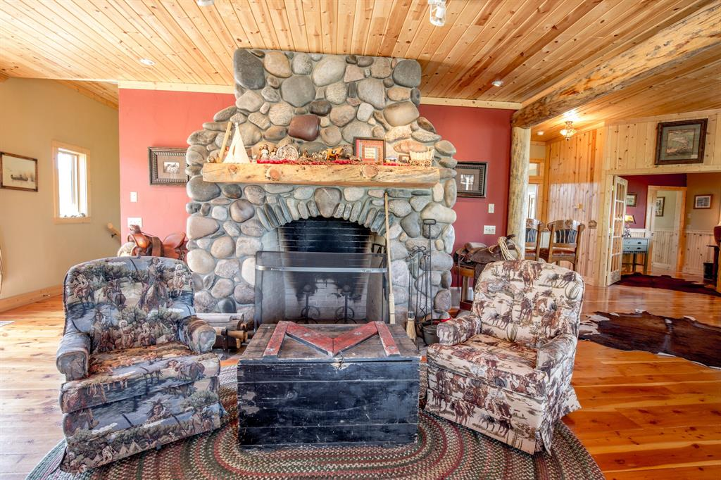 River Rock Wood Burning Fireplace