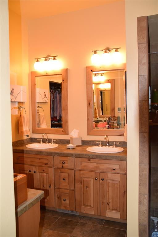 Double vanity in Master Bathroom with radiant heat